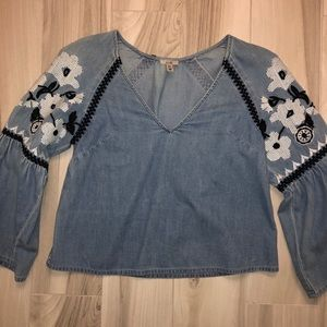 urban outfitters denim embroidered long sleeve top